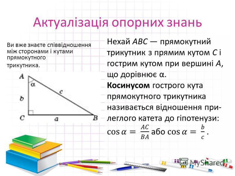 Актуалізація опорних знань Ви вже знаєте співвідношення між сторонами і кутами прямокутного трикутника.