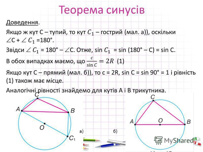 Теорема синусів а)б)