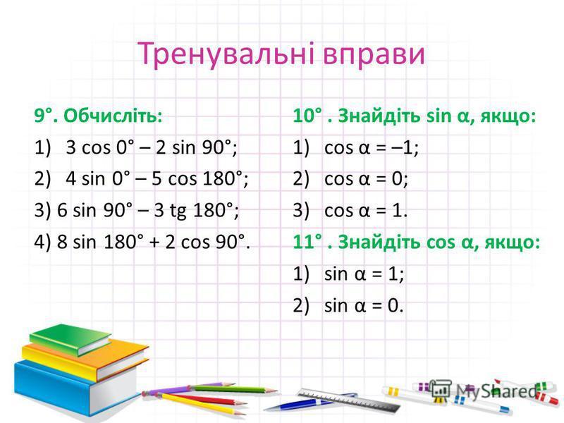 Тренувальні вправи 9°. Обчисліть: 1)3 cos 0° – 2 sin 90°; 2)4 sin 0° – 5 cos 180°; 3) 6 sin 90° – 3 tg 180°; 4) 8 sin 180° + 2 cos 90°. 10°. Знайдіть sin α, якщо: 1)cos α = –1; 2)cos α = 0; 3)cos α = 1. 11°. Знайдіть cos α, якщо: 1)sin α = 1; 2)sin α