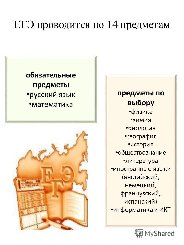 ЕГЭ проводится по 14 предметам обязательные предметы русский язык математика предметы по выбору физика химия биология география история обществознание литература иностранные языки (английский, немецкий, французский, испанский) информатика и ИКТ