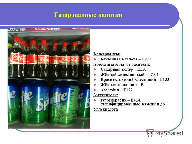 Газированные напитки Консерванты: Бензойная кислота – Е211 Ароматизаторы и красители: Сахарный колер – Е150 Жёлтый хинолиновый – Е104 Краситель синий блестящий - Е133 Жёлтый кринолин - Е Азорубин – Е122 Загустители: гуммиарабик – Е414, этерифицирован