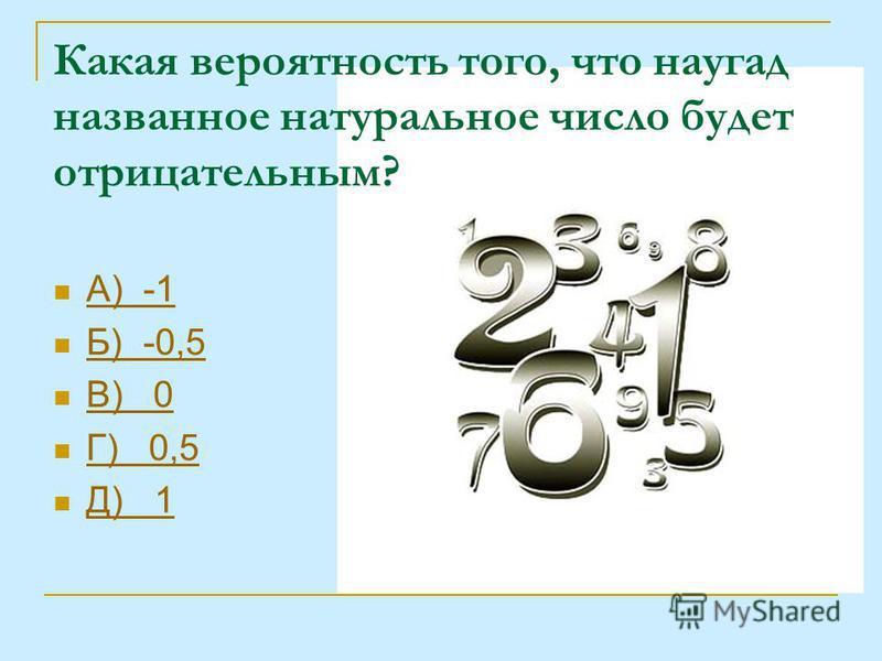 Какая вероятность того, что наугад названное натуральное число будет отрицательным? А) -1 Б) -0,5 В) 0 Г) 0,5 Д) 1