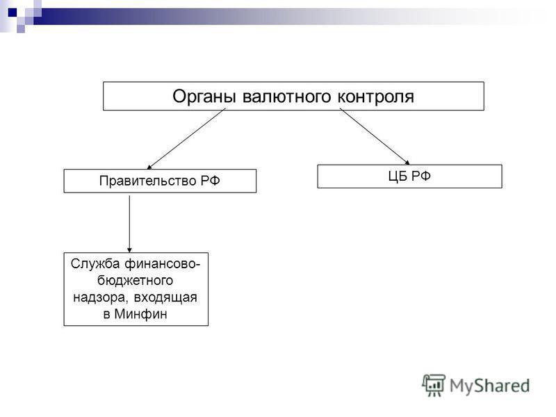 Органы валютного контроля Правительство РФ ЦБ РФ Служба финансово- бюджетного надзора, входящая в Минфин
