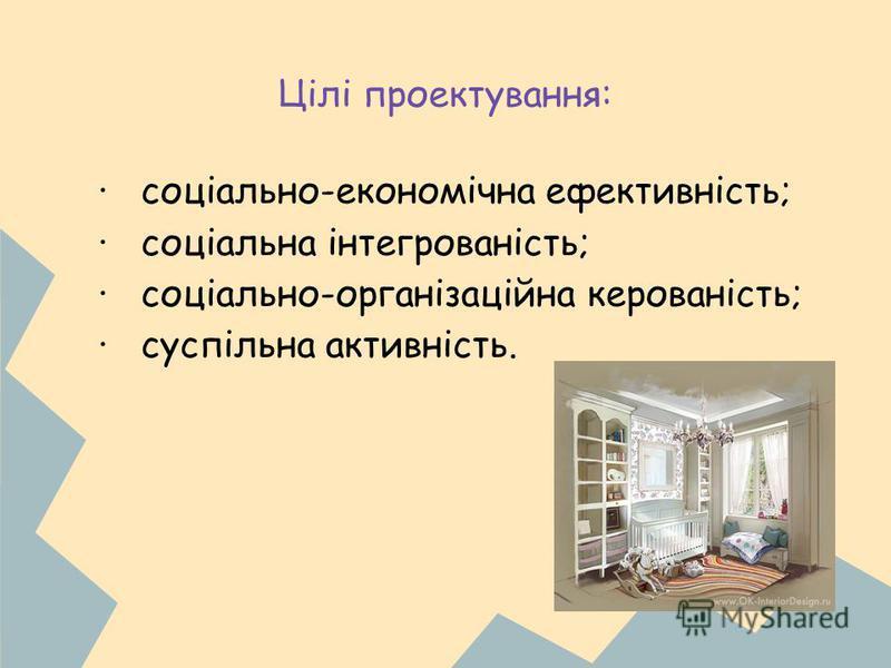 Цілі проектування: · соціально-економічна ефективність; · соціальна інтегрованість; · соціально-організаційна керованість; · суспільна активність.