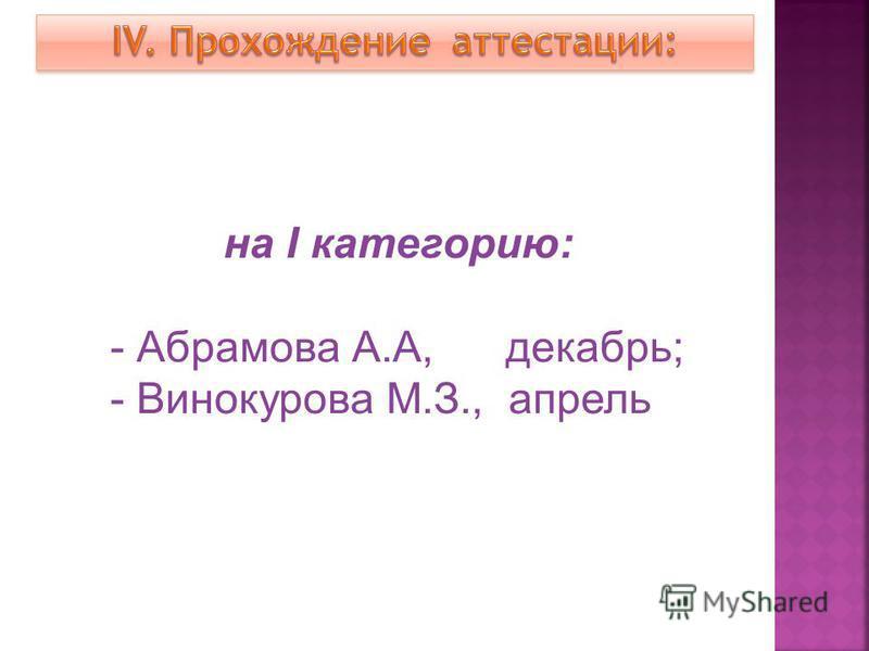 на I категорию: - Абрамова А.А, декабрь; - Винокурова М.З., апрель