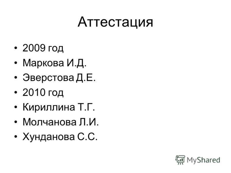 Аттестация 2009 год Маркова И.Д. Эверстова Д.Е. 2010 год Кириллина Т.Г. Молчанова Л.И. Хунданова С.С.