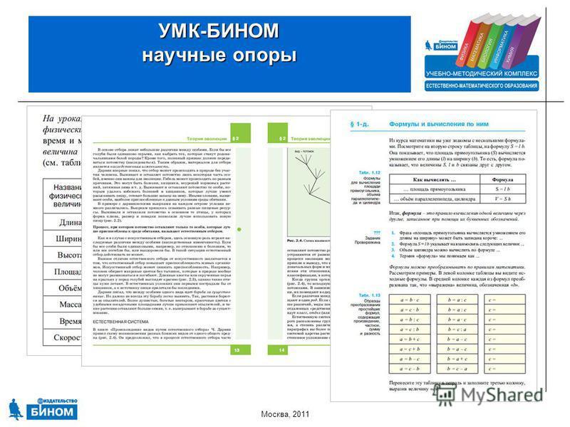 Москва, 2011 УМК-БИНОМ научные опоры