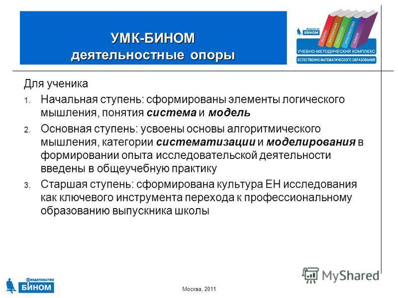 Москва, 2011 УМК-БИНОМ деятельностные опоры Для ученика 1. Начальная ступень: сформированы элементы логического мышления, понятия система и модель 2. Основная ступень: усвоены основы алгоритмического мышления, категории систематизации и моделирования