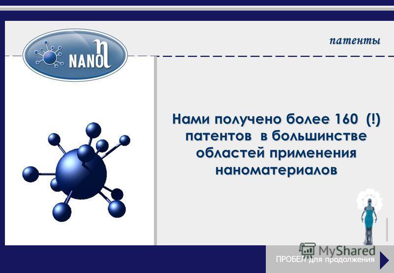патенты Нами получено более 160 (!) патентов в большинстве областей применения наноматериалов