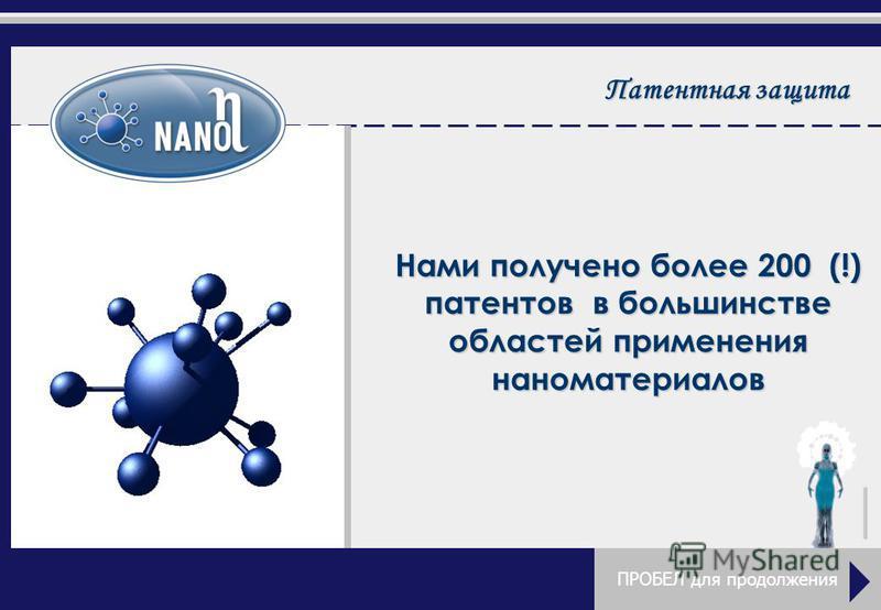 Патентная защита Нами получено более 200 (!) патентов в большинстве областей применения наноматериалов ПРОБЕЛ для продолжения