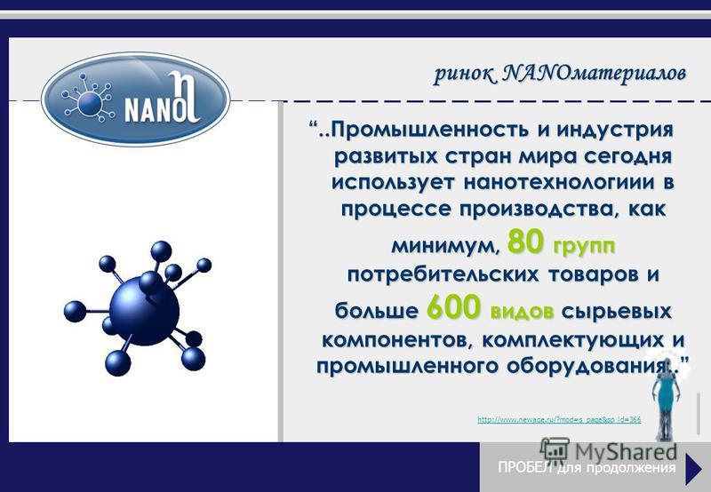 рынок NANOматериалов..Промышленность и индустрия развитых стран мира сегодня использует нанотехнологии в процессе производства, как минимум, 80 групп потребительских товаров и больше 600 видов сырьевых компонентов, комплектующих и промышленного обору