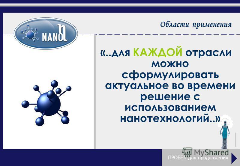 Области применения «..для КАЖДОЙ отрасли можно сформулировать актуальное во времени решение с использованием нанотехнологий..» ПРОБЕЛ для продолжения