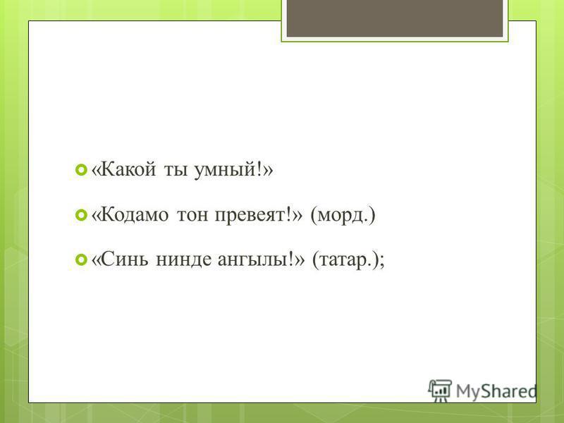 «Какой ты умный!» «Кодамо тон превеят!» (морд.) «Синь нинде ангелы!» (татар.);