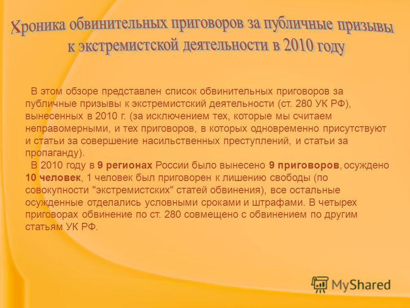В этом обзоре представлен список обвинительных приговоров за публичные призывы к экстремистский деятельности (ст. 280 УК РФ), вынесенных в 2010 г. (за исключением тех, которые мы считаем неправомерными, и тех приговоров, в которых одновременно присут