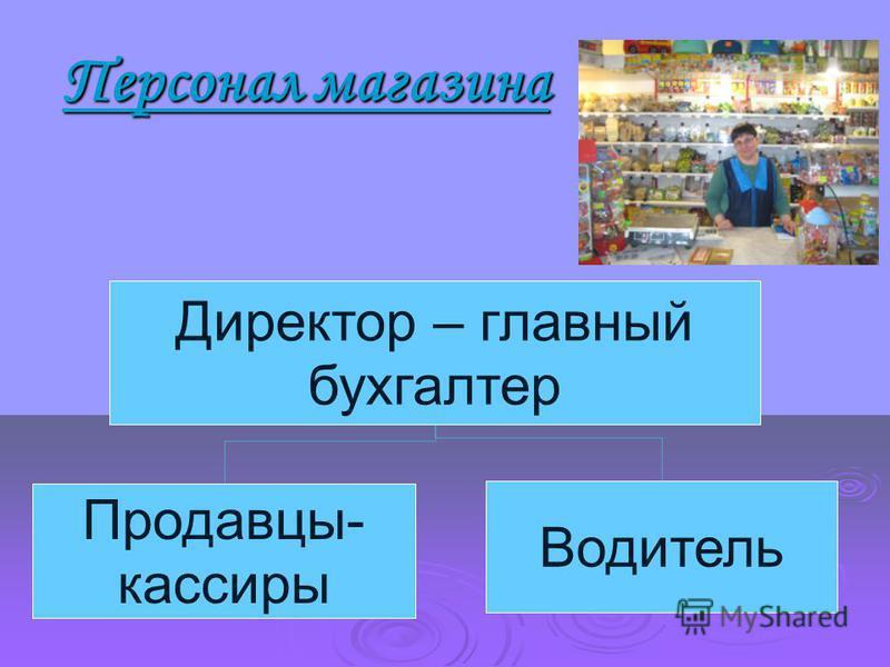 Персонал магазина Персонал магазина Директор – главный бухгалтер Продавцы- кассиры Водитель