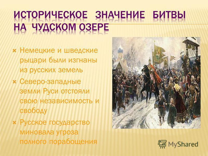 14 Немецкие и шведские рыцари были изгнаны из русских земель Северо-западные земли Руси отстояли свою независимость и свободу Русское государство миновала угроза полного порабощения