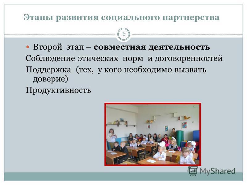 [1] Этапы развития социального партнерства 6 Второй этап – совместная деятельность Соблюдение этических норм и договоренностей Поддержка (тех, у кого необходимо вызвать доверие) Продуктивность