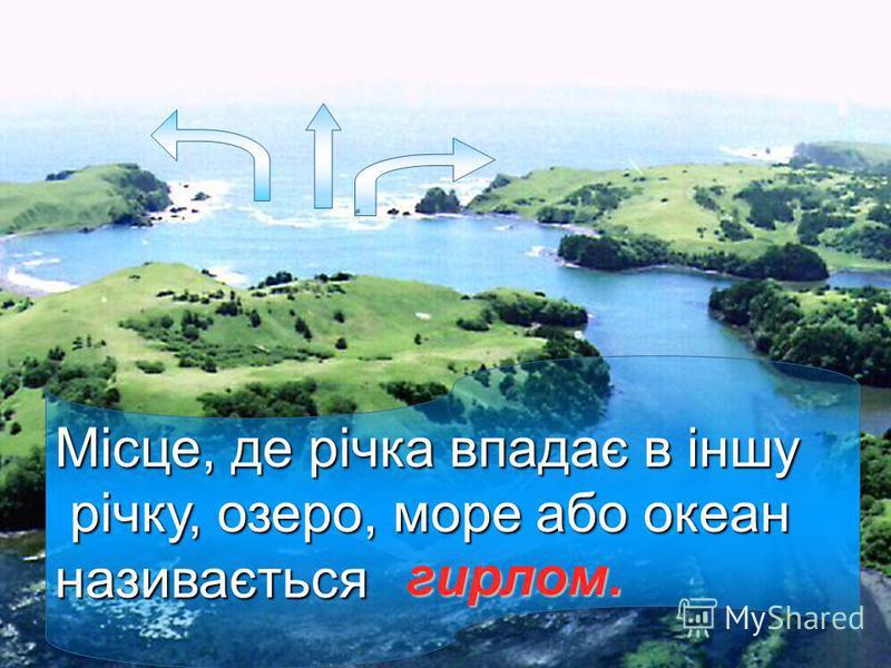 Місце, де річка впадає в іншу річку, озеро, море або океан річку, озеро, море або океанназивається гирлом.