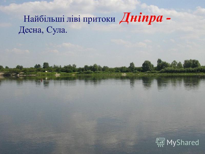 Найбільші ліві притоки Дніпра - Десна, Сула.