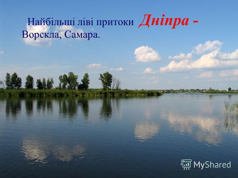 Найбільші ліві притоки Дніпра - Ворскла, Самара.