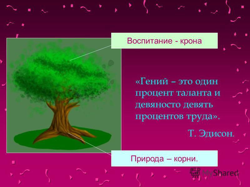 «Гений – это один процент таланта и девяносто девять процентов труда». Т. Эдисон. Воспитание - крона Природа – корни.
