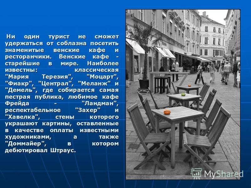 Ни один турист не сможет удержаться от соблазна посетить знаменитые венские кафе и ресторанчики. Венские кафе - старейшие в мире. Наиболее известны: классическая