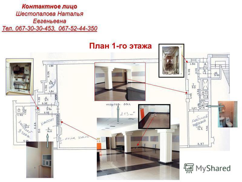 План 1-го этажа Контактное лицо Шестопалова Наталья Евгеньевна Тел. 067-30-30-453, 067-52-44-350