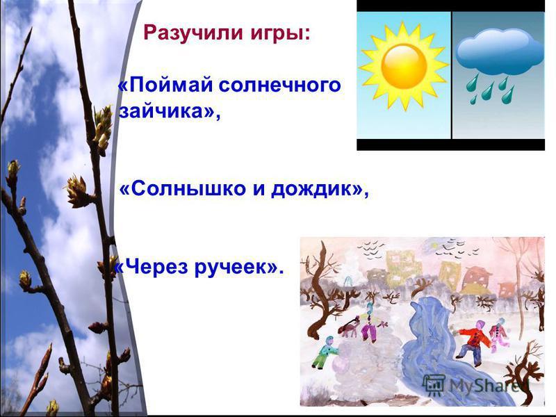 Разучили игры: «Поймай солнечного зайчика», «Солнышко и дождик», «Через ручеек».