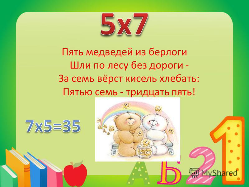 Пять медведей из берлоги Шли по лесу без дороги - За семь вёрст кисель хлебать: Пятью семь - тридцать пять!