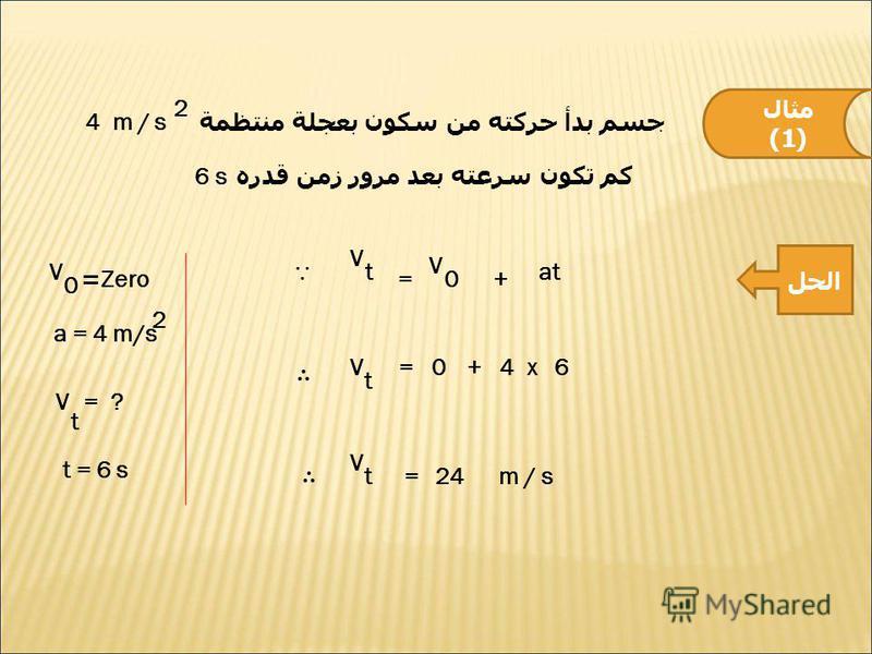 مثال (1) جسم بدأ حركته من سكون بعجلة منتظمة 4 m / s 2 كم تكون سرعته بعد مرور زمن قدره 6 s الحل V 0 = Zero a = 4 m/s 2 V t = ? t = 6 s V t V 0=+ at V t =0+4x6 V t=24m / s