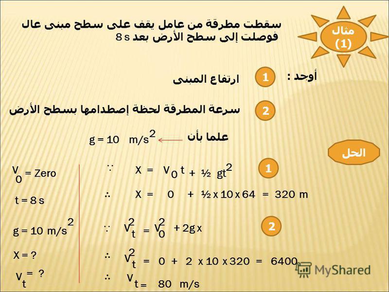 مثال (1) سقطت مطرقة من عامل يقف على سطح مبنى عال فوصلت إلى سطح الأرض بعد 8 s أوجد : 1 2 ارتفاع المبنى سرعة المطرقة لحظة إصطدامها بسطح الأرض علما بأن g = 10 2 m/s الحل V 0 =Zero t = 8 s g = 10 2 m/s X = ? V t = ? X = 0 gt V 2 t ½ + X =0+½x10x64320= m