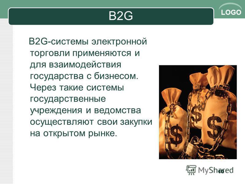 LOGO B2G B2G-системы эээлектронной торговли применяются и для взаимодействия государства с бизнесом. Через такие системы государственные учреждения и ведомства осуществляют свои закупки на открытом рынке. 10