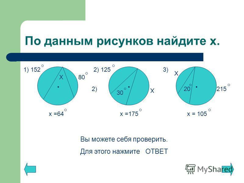 По данным рисунков найдите х. Х 1) 152 80 2) 125 Х 30 215 20 Х 2) 3) Вы можете себя проверить. Для этого нажмите ОТВЕТ х =64 х =175 х = 105