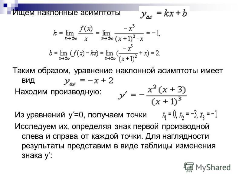 Ищем наклонные асимптоты Таким образом, уравнение наклонной асимптоты имеет вид Находим производную: Из уравнений y=0, получаем точки Исследуем их, определяя знак первой производной слева и справа от каждой точки. Для наглядности результаты представи