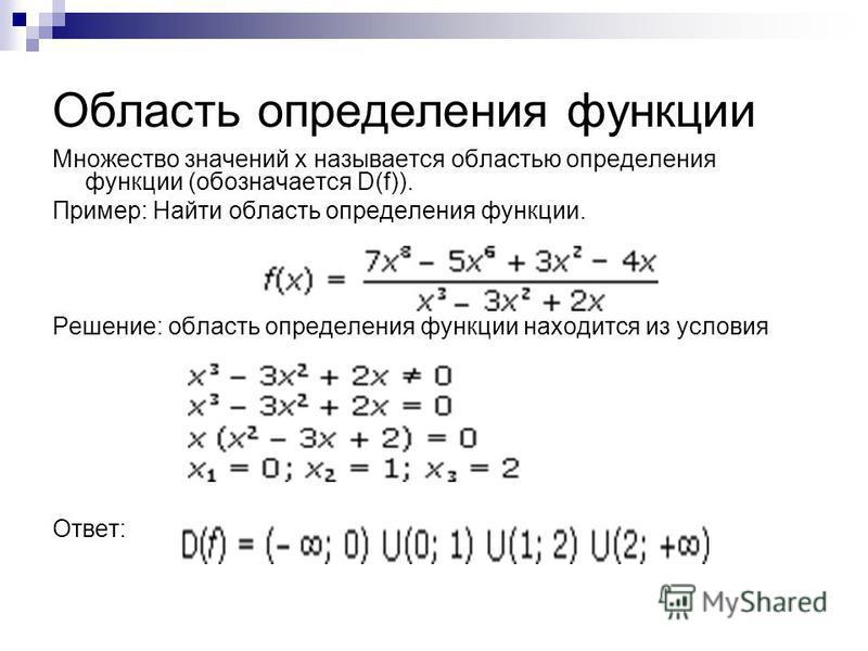 Область определения функции Множество значений x называется областью определения функции (обозначается D(f)). Пример: Найти область определения функции. Решение: область определения функции находится из условия Ответ:
