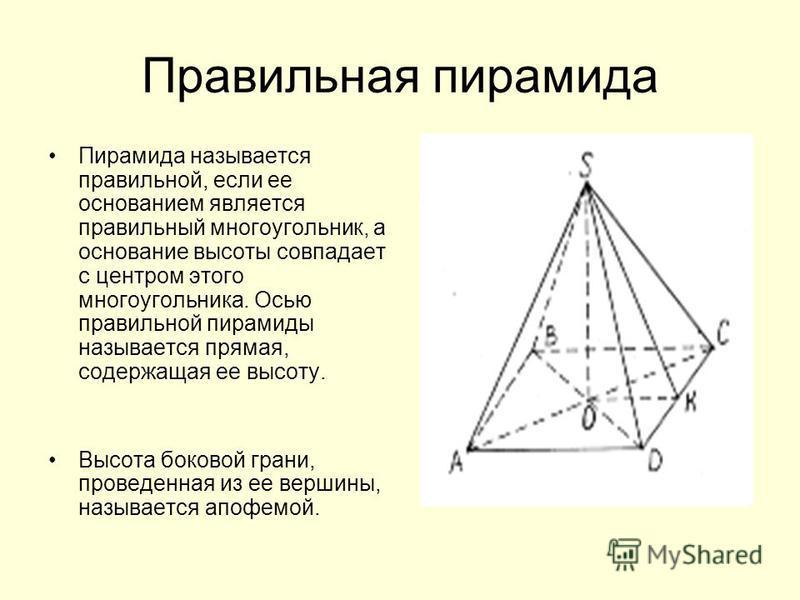 Правильная пирамида Пирамида называется правильной, если ее основанием является правильный многоугольник, а основание высоты совпадает с центром этого многоугольника. Осью правильной пирамиды называется прямая, содержащая ее высоту. Высота боковой гр