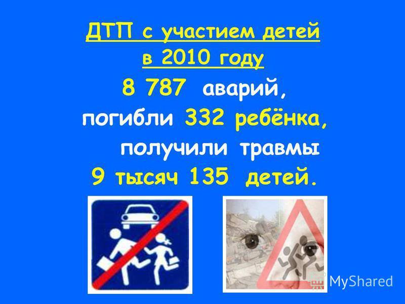 ДТП с участием детей в 2010 году 8 787 аварий, погибли 332 ребёнка, получили травмы 9 тысяч 135 детей.