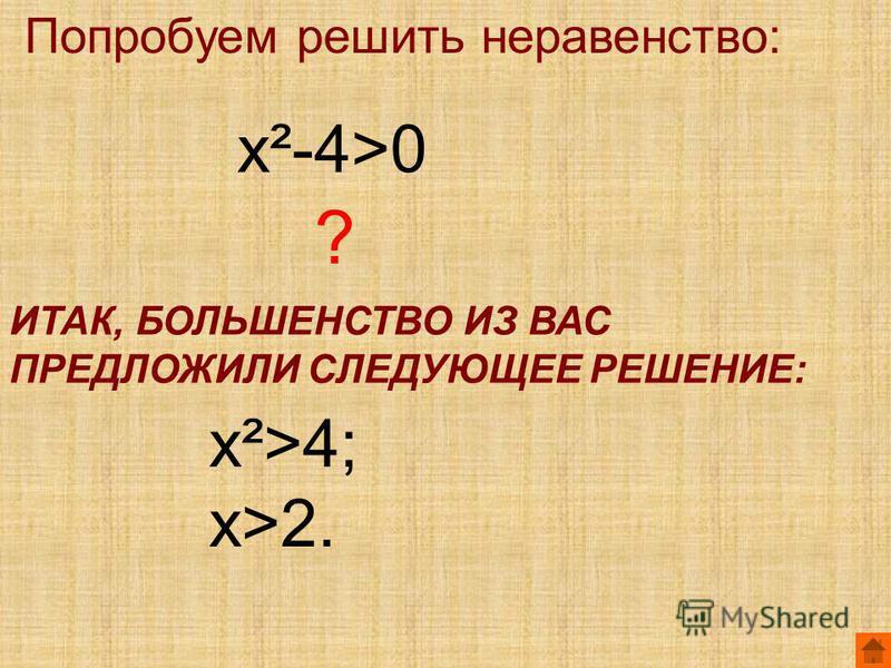Попробуем решить неравенство: х²-4>0 ? ИТАК, БОЛЬШЕНСТВО ИЗ ВАС ПРЕДЛОЖИЛИ СЛЕДУЮЩЕЕ РЕШЕНИЕ: х²>4; х>2.