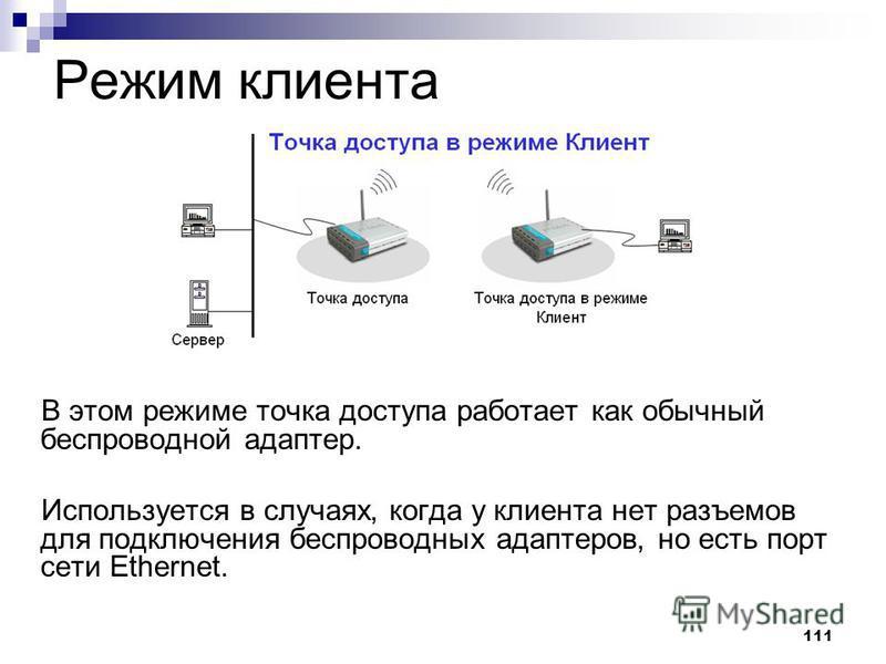 111 Режим клиента В этом режиме точка доступа работает как обычный беспроводной адаптер. Используется в случаях, когда у клиента нет разъемов для подключения беспроводных адаптеров, но есть порт сети Ethernet.