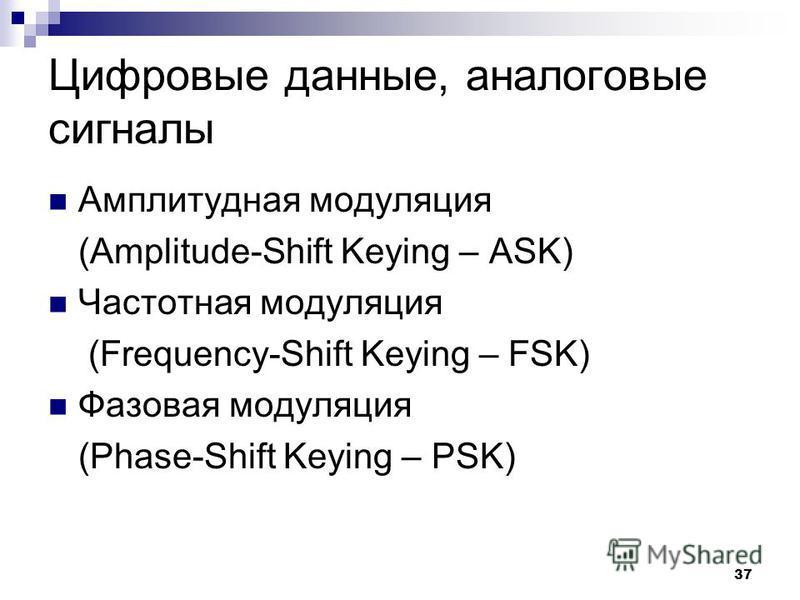 37 Цифровые данные, аналоговые сигналы Амплитудная модуляция (Amplitude-Shift Keying – ASK) Частотная модуляция (Frequency-Shift Keying – FSK) Фазовая модуляция (Phase-Shift Keying – PSK)