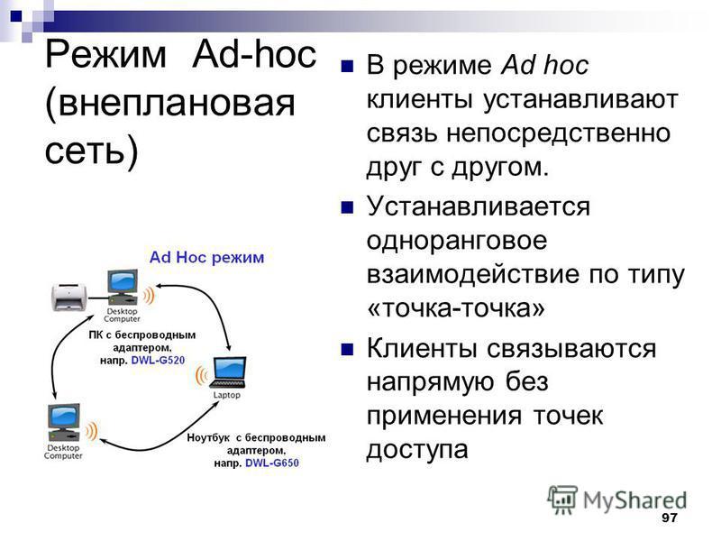 97 Режим Ad-hoc (внеплановая сеть) В режиме Ad hoc клиенты устанавливают связь непосредственно друг с другом. Устанавливается одноранговое взаимодействие по типу «точка-точка» Клиенты связываются напрямую без применения точек доступа