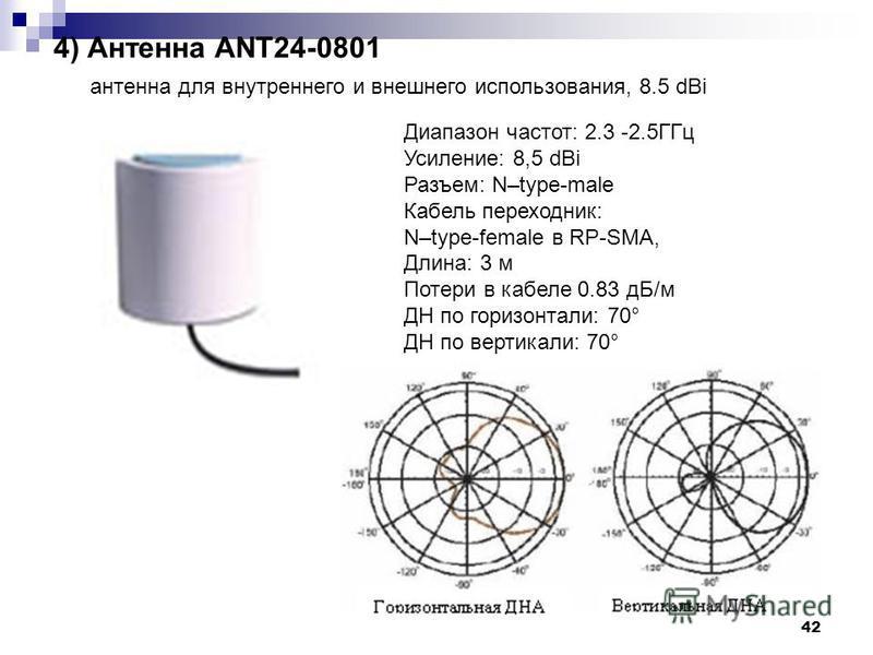 42 4) Антенна ANT24-0801 антенна для внутреннего и внешнего использования, 8.5 dBi Диапазон частот: 2.3 -2.5ГГц Усиление: 8,5 dBi Разъем: N–type-male Кабель переходник: N–type-female в RP-SMA, Длина: 3 м Потери в кабеле 0.83 дБ/м ДН по горизонтали: 7