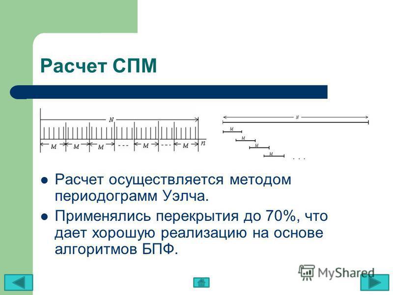 Расчет СПМ Расчет осуществляется методом периодограмм Уэлча. Применялись перекрытия до 70%, что дает хорошую реализацию на основе алгоритмов БПФ.