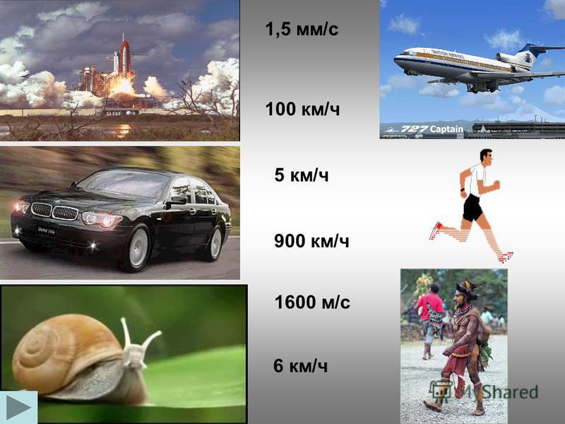 1,5 мм/с 100 км/ч 5 км/ч 900 км/ч 1600 м/с 6 км/ч