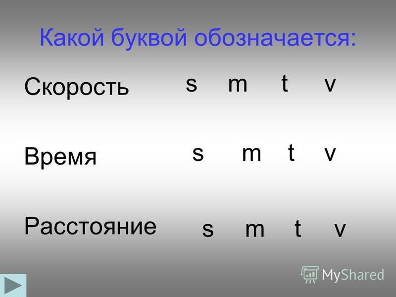 Какой буквой обозначается: Скорость Время Расстояние s s s m m m t t t v v v