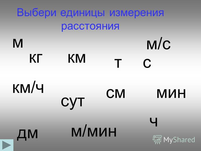 Выбери единицы измерения расстояния кгкм тс км/ч см сут мин дм м/мин м/с ч м