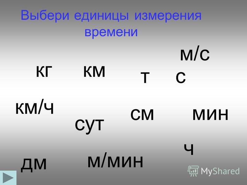 Выбери единицы измерения времени кгкм тс км/ч см сут мин дм м/мин м/с ч