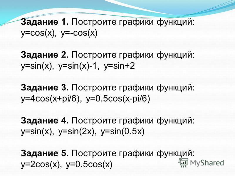 Задание 1. Построите графики функций: y=cos(x), y=-cos(x) Задание 2. Построите графики функций: y=sin(x), y=sin(x)-1, y=sin+2 Задание 3. Построите графики функций: y=4cos(x+pi/6), y=0.5cos(x-pi/6) Задание 4. Построите графики функций: y=sin(x), y=sin