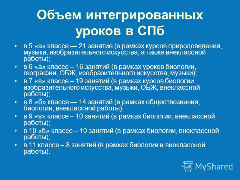 Объем интегрированных уроков в СПб в 5 «а» классе 21 занятие (в рамках курсов природоведения, музыки, изобразительного искусства, а также внеклассной работы); в 6 «а» классе – 16 занятий (в рамках уроков биологии, географии, ОБЖ, изобразительного иск