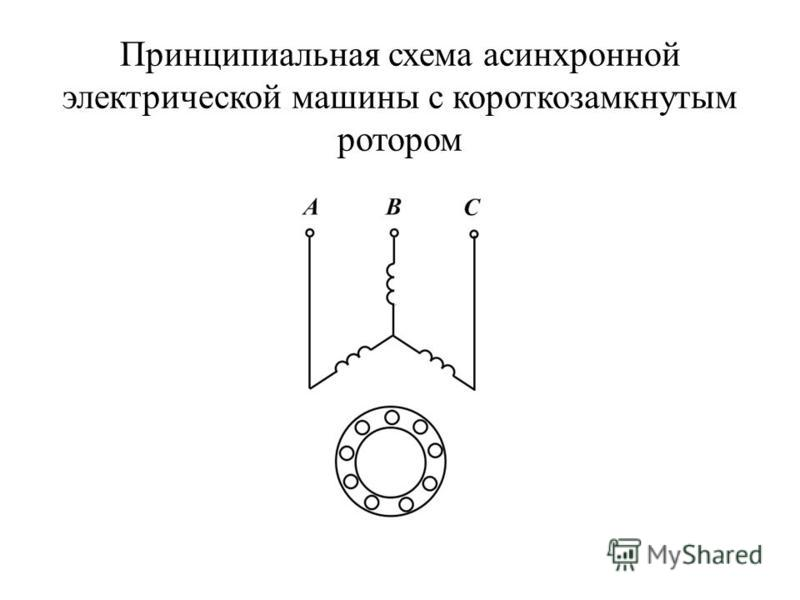 Принципиальная схема асинхронной электрической машины с короткозамкнутым ротором